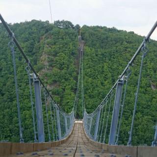Auf der Geierslay-Hängeseilbrücke zum neuen Zuweg zum Saar-Hunsrück-Steig